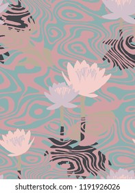 Seamless botanical pattern made of water texture and lily pads. Scene with pond, waves, reflections and water lilies also called as Nenuphar, White Water Rose on the surface. Fashion design for fabric