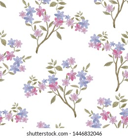 Seamless botanical pattern. Watercolor painted leaves. Delicate flowers on the branches. Purple flowers on a white background.