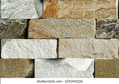 Seamless Bricks Stone wall elevation for backgrounds