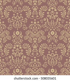 Seamless brown background with yellow pattern  in baroque stile.