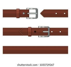 Seamless Brown Leather Belts Set.