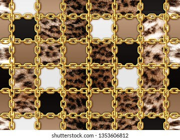 Seamless brown leopard and gold chain pattern