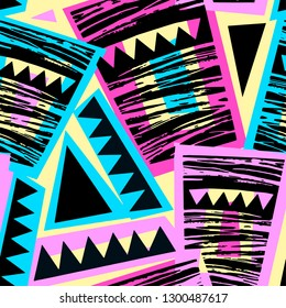 Seamless brushpen doodle pattern grunge texture.Trendy modern ink artistic design with authentic and unique scrapes, watercolor blotted background for a logo, cards, invitations, posters, banners.