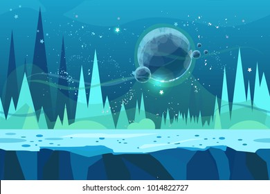 Seamless cartoon  landscape for game. Ice desert concept illustration with planet. Illustration for your design.Ready for parallax effect.