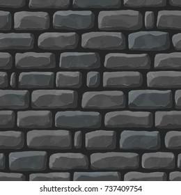 Seamless cartoon texture of dark gray cobblestone