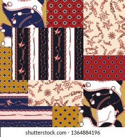 seamless chain, baroque, rope, knot and geometric square patchwork print pattern