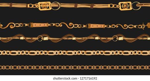seamless chain and belt fabric print pattern