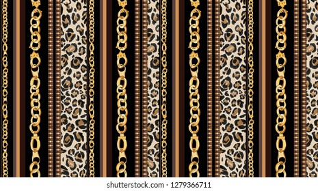 seamless chain, leopard skin border striped fabric print pattern
