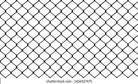 Seamless chain link fence on white background