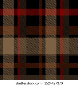 Seamless check plaid background pattern in red, blue, yellow and white for flannel shirt, underwear, bag, or other modern textile design.