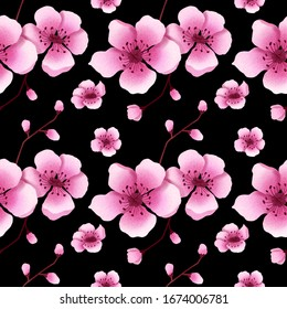 Seamless cherry blossom pattern. Hand drawn sakura blossom background illustration. Pink cherry flowers pattern for print, fabric, greeting cards, wedding, wrapping paper. Black flower pattern.
