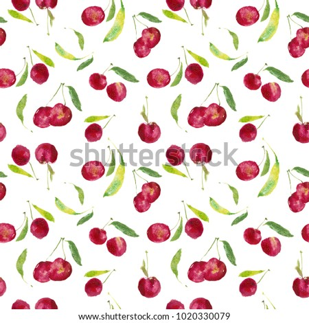 Seamless cherry pattern, ripe wine-colored watercolor cherries, cherry pattern with natural watercolor illustration and art for craft label design, bright vegetarian banners, juices bar.