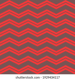 Seamless chevron pattern of zigzag red lines on gray background.