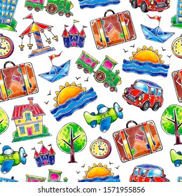 Seamless childish watercolor travel pattern. Hand drawn cartoon style. Texture for kids fabric, wrapping, textile, wallpaper