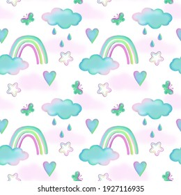 Seamless children's pattern with clouds, rainbows, stars, hearts, butterflies, drops on a white background in cartoon style. Illustration for printing on textiles, paper, packaging