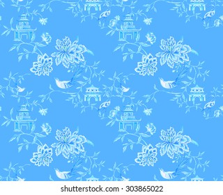 Seamless chinoiserie pattern. Traditional Asian Chinese textile with floral elements, birds, crane, tea house, cherry blossom. Allover pattern with oriental motifs.