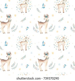 Seamless Christmas baby deer seamless pattern. Hand drawn winter backgraund with deer, snowflakes. Nursery animal illustration. New year design.