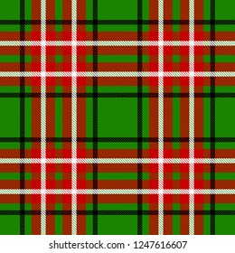 Seamless christmas check pattern black, whte, green and red. Design for wallpaper, fabric, textile, wrapping. Simple background