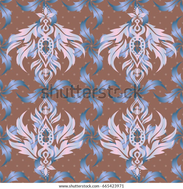 Seamless Christmas ornament pattern. Glittering background illustration in beige and blue colors.
