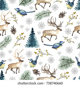 Seamless Christmas pattern with birds, deer, tree, snowflakes, branches. Watercolor hand drawn