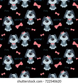 Seamless Christmas pattern.New year's design. dog on a black background.