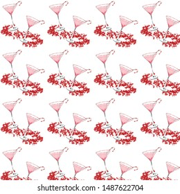 seamless christmas themed watercolor pattern