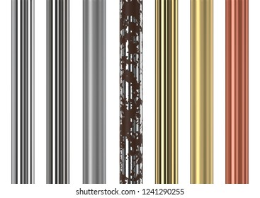 Seamless chrome, stainless steel, gold and copper vertical tubes on white background. 3D rendering.