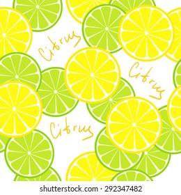 Seamless citrus pattern. Fruit background. Summer bright background with lemon and orange.