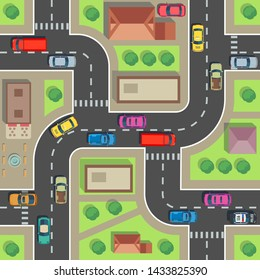 Seamless city map. Top view building and street with cars and trucks. Urban plan endless texture. Road and building architecture, street transport seamless illustration