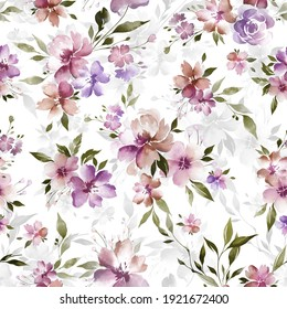 seamless classic pattern with hand drawn watercolor flowers and leaves. botanical watercolor illustration and background