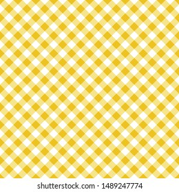Seamless classic yellow table cloth texture with diagonal lines