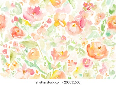 Seamless, Colorful Abstract Watercolor Floral Background.
