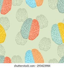 Seamless colorful background with brain pattern in flat design