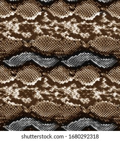 Seamless colorful black and white repetitive snake skin pattern texture.