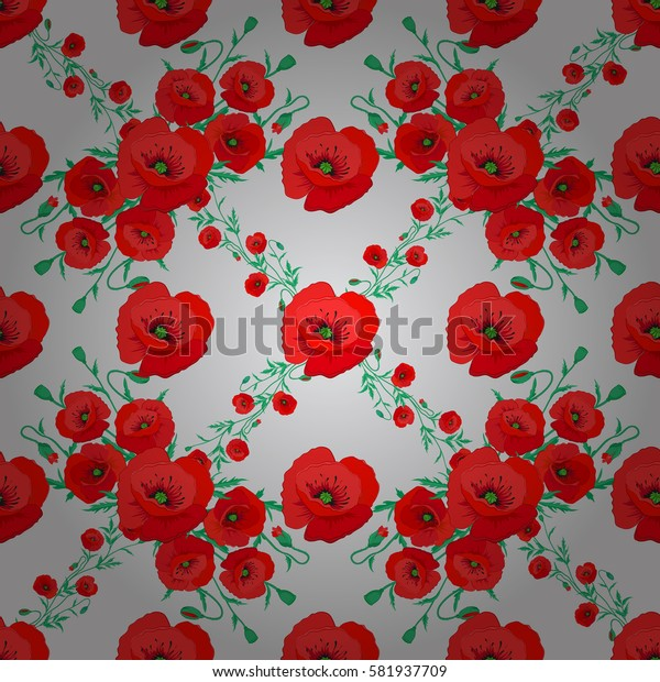 Seamless colorful floral pattern on a gray background. Hand drawn floral texture, motley decorative flowers.