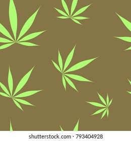 Seamless colorful weed cannabis marijuana leaf tile pattern illustration design for creative art fabric or wallpaper application.
