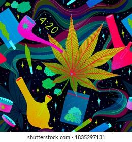 Seamless colourful marijuana pattern. Drug consumption, cannabis and smoking drugs. Fun illustration of smoking equipment.