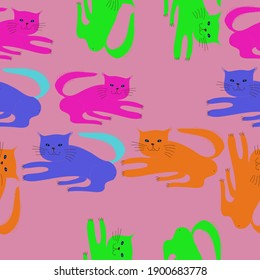 Seamless composition colored  cats. Hand drawn.