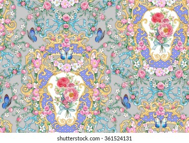 Seamless composition with roses and blue butterflies on gray background