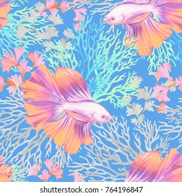 seamless corals and fish pattern, algae, coral reefs, tropical exotic fish. watercolor illlustration for fashion, stationery, wallapaper, textile.