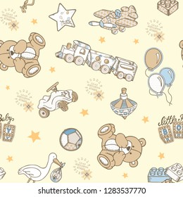 Seamless cream color background on toy teddy bear balloon helicopter lego car and stork figure children bed linen patterns