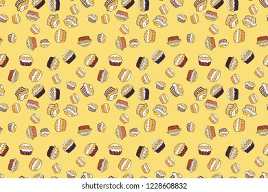 Seamless cupcake, fairy cake. Raster. For food poster design. Cute birthday pattern on yellow, white and black.
