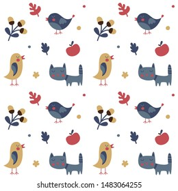 Seamless cute animal autumn pattern made with cat, bird, flower, plant, leaf, berry, heart, friend, floral nature berry acorn kitten
