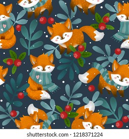 seamless cute pattern of a winter forest and animal fox. Christmas card with berry and foxes.