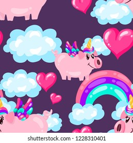 Seamless cute pig unicorn pattern with rainbow and hearts on dark sky. Baby print. cartoon hand drawn caracter