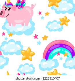 Seamless cute pig unicorn pattern. Baby print. cartoon hand drawn caracter