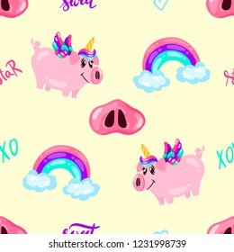 Seamless cute pig unicorn pattern with rainbow and words on yellow sky. Baby print. cartoon hand drawn caracter