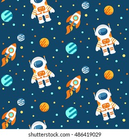 Seamless cute space pattern with astronauts, planets and rockets, childish background