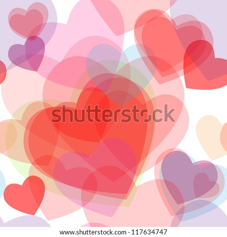 Seamless Cute Transparent Heart Symbols Different Stock Illustration