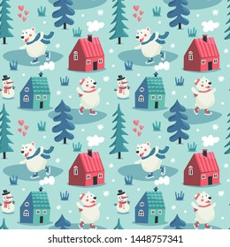 Seamless cute winter pattern with bears skate, houses, snowman, trees, forest, new year, smoke from ruby, hearts, wild, wildness, animals, love, snowflake